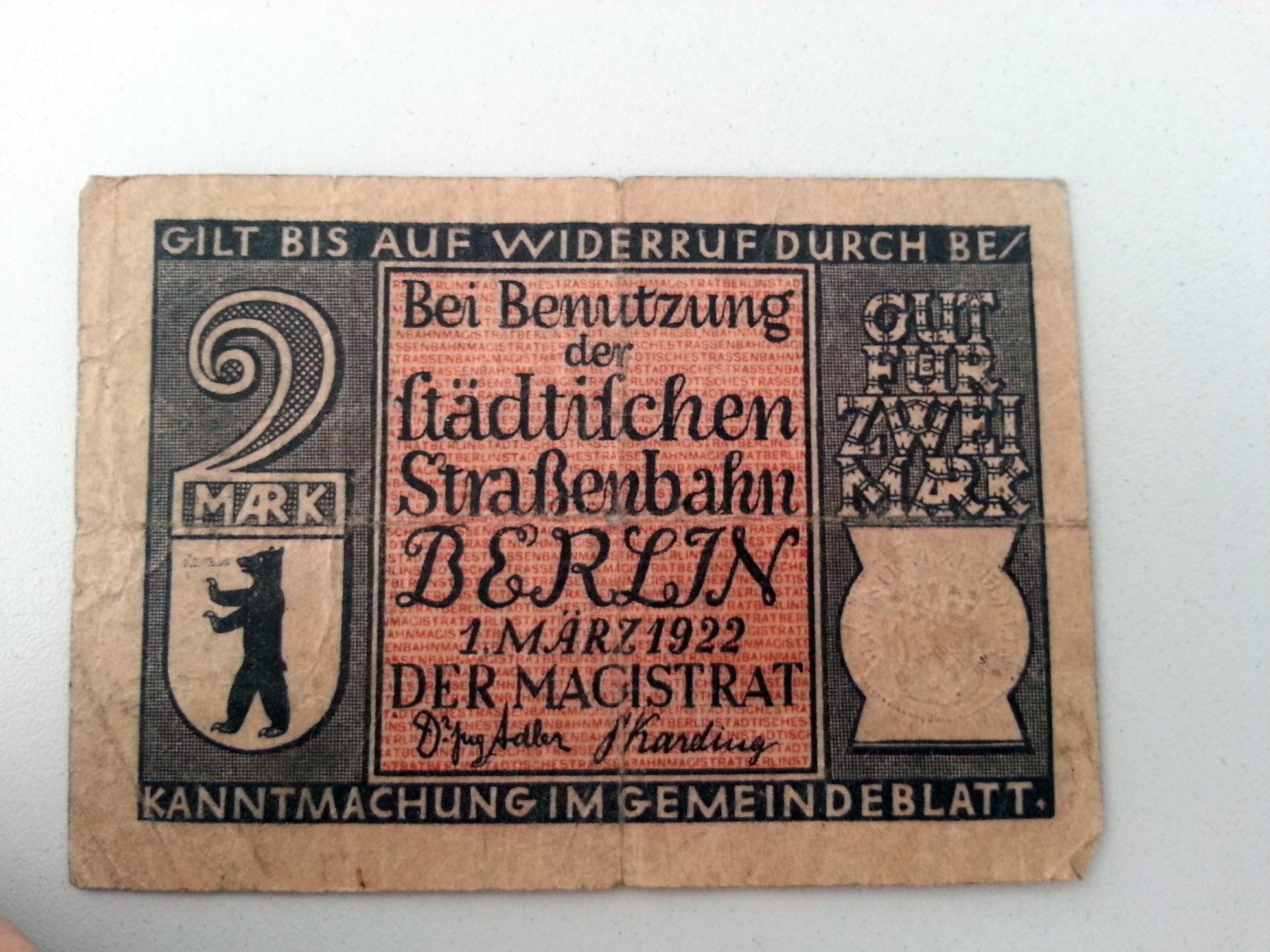 Strassenbahngeld - Berlin - 1922