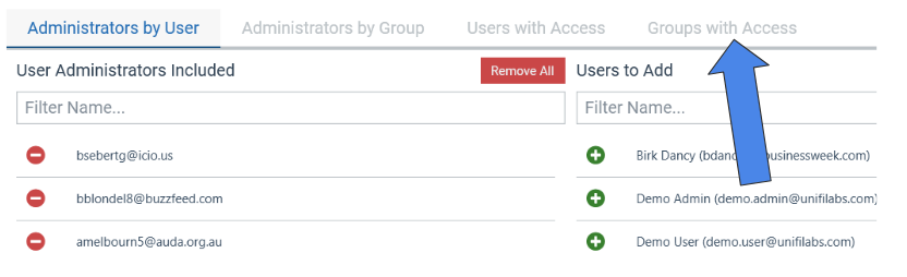 Manage Groups with Access