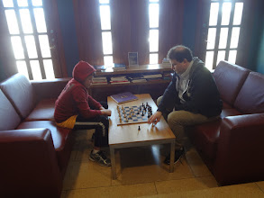 Photo: Leo and Greg took a break for a game of chess
