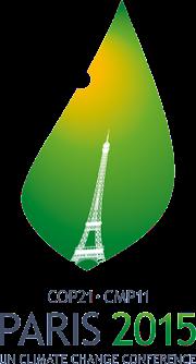 Symbol der Umweltschutzkonferenz in Paris: Grünes Blatt, leicht angeknappert, mit Eiffelturm.