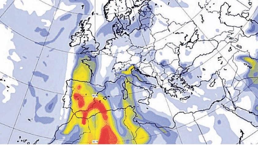 Entrada de la masa de aire sahariano desde le norte de África prevista para este domingo.