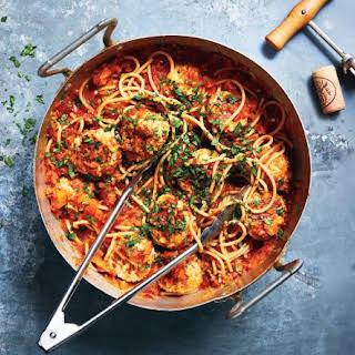 Red Sauce and Turkey Meatballs over Whole-Grain Spaghetti.