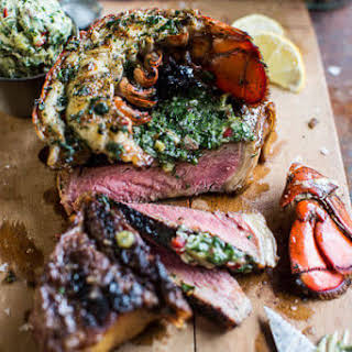 Steak and Lobster with Spicy Roasted Garlic Chimichurri Butter..