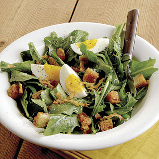 Dandelion Salad with Pancetta, Eggs, and Croutons