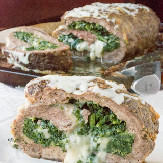 Low Carb Cheesy Spinach Stuffed Meatloaf