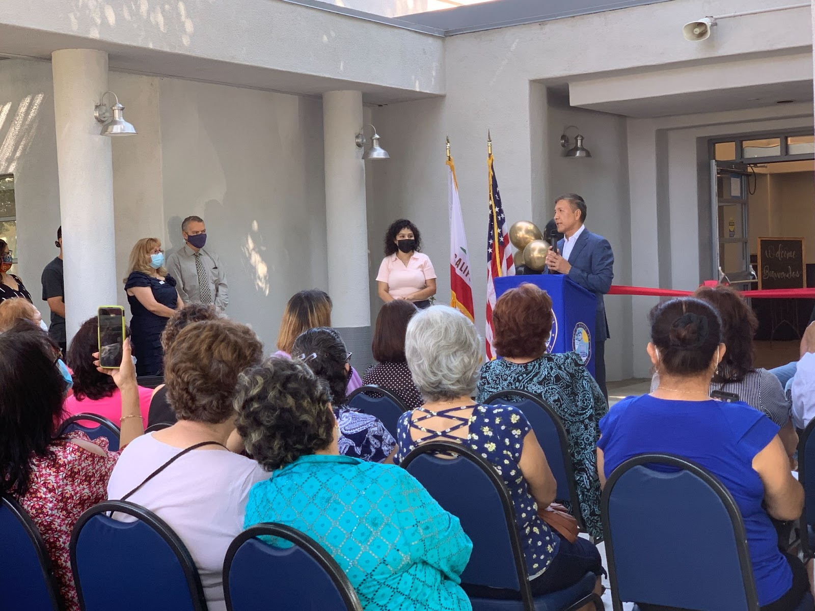 Mayor Sarmiento giving a speech at the opening ceremony for the Southwest Senior Center