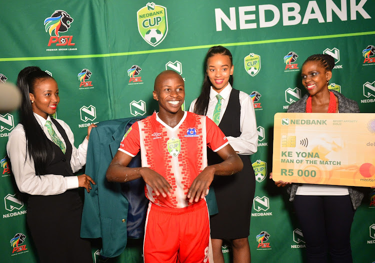 Maritzburg United star midfielder Siphesihle Ndlovu receives his green jacket after a man of the match performance in the Nedbank Cup last 16 round against Pietermaritzburg rivals Royal Eagles at Princess Magogo Stadium, Durban on 11 March 2018. Ndlovu was named in head coach Stuart Baxter's Bafana Bafana squad on Tuesday March 13 2018 for the Four-Nations tournament in Zambia starting on March 22.