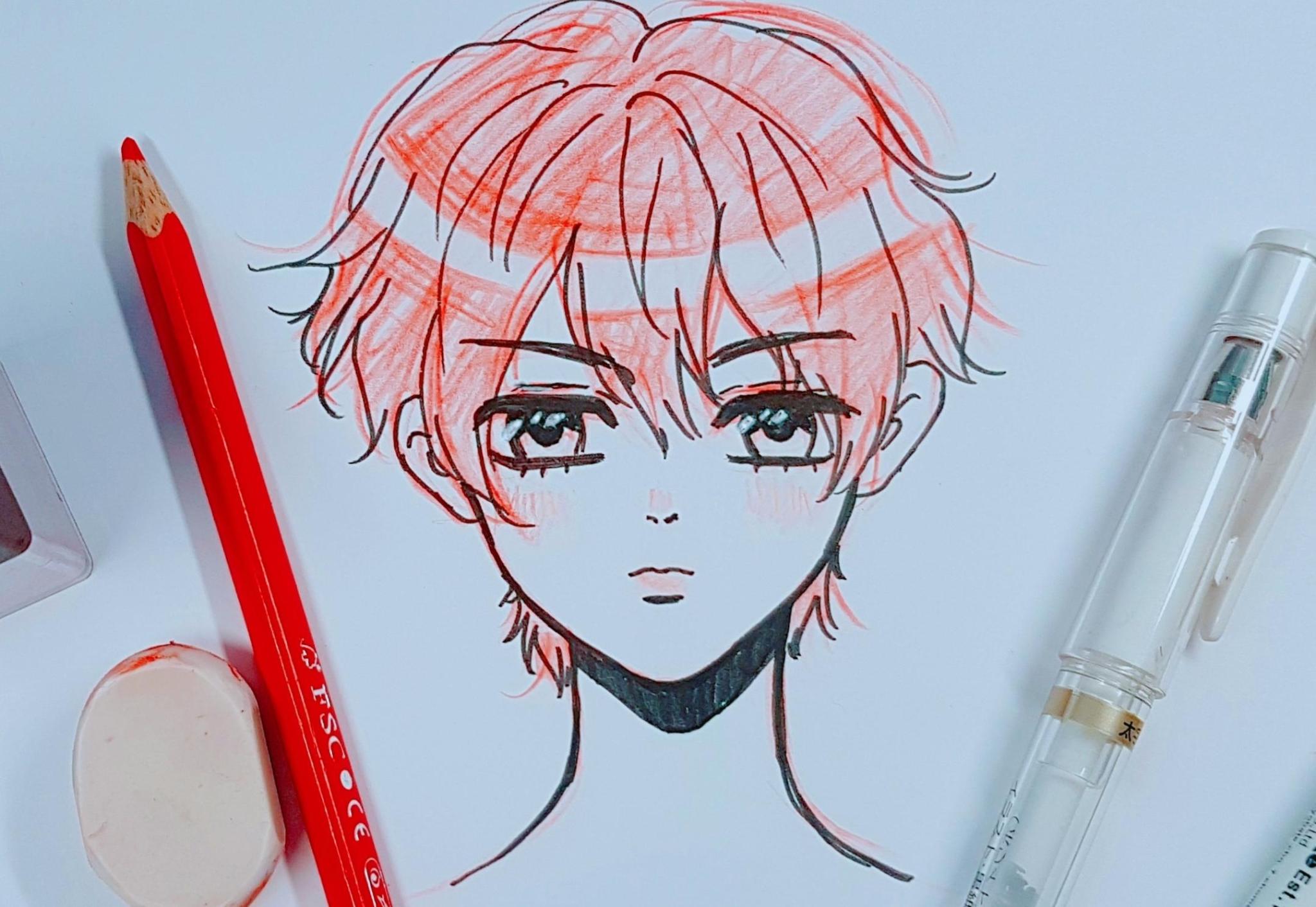 red hair anime boy