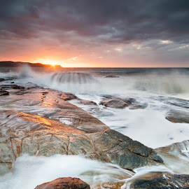 Water In Motion by Geoffrey Wols - Landscapes Sunsets & Sunrises ( coast, cascades, sunrise, rocks, stormy, splashing, pearl beach, beach, sunset, clouds, water, whitewater,  )