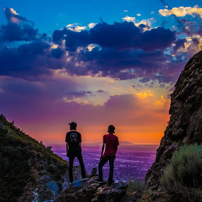 On top by Andre Quintana - Landscapes Sunsets & Sunrises ( canon, mountains, friends, details, on top, color, sunset, up high, scenery, hiking )