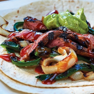 Spicy Grilled Steak Fajitas with Poblano Peppers.