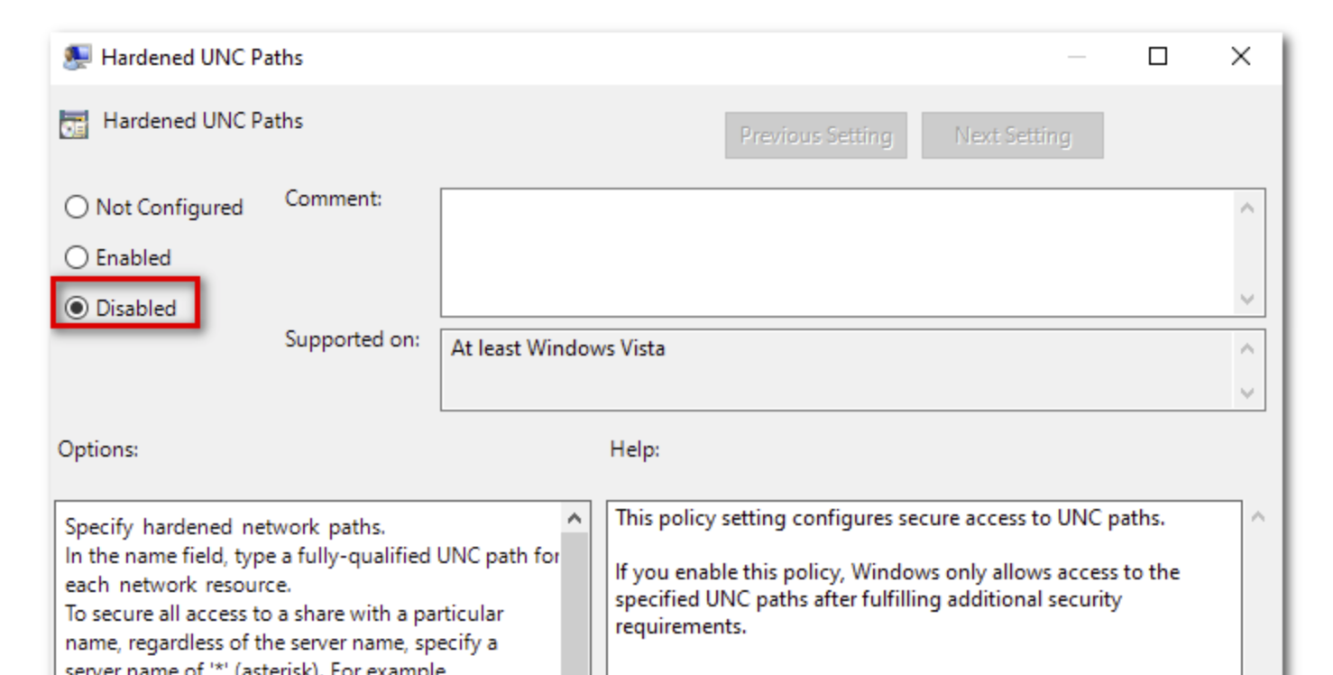Disable Hardened UNC Paths policy setting