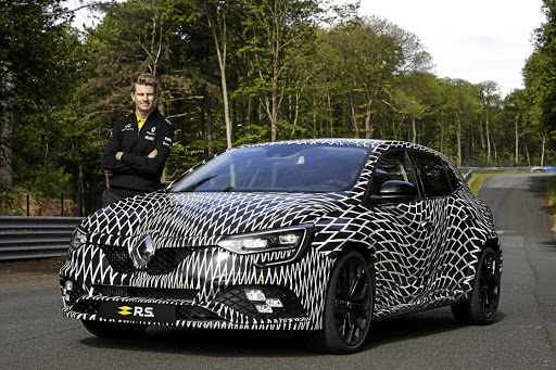 Nico Hulkenberg with the new Renault Megane RS.   Picture: RENAULT