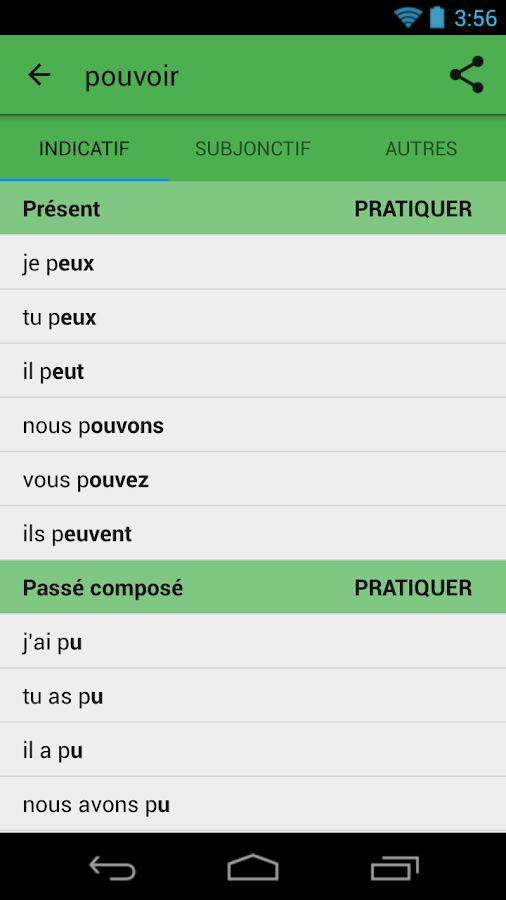 Conjugate French verbs- screenshot