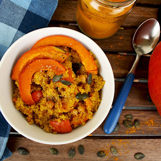 "Vegan Quinoa Risotto ""Quinotto"" with Roasted Pumpkin, Chick Peas and Saffron"