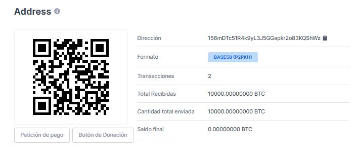 Billetera de quien recibió los 10.000 BTC. Bitcoin Pizza Day. Fuente: Blockchain