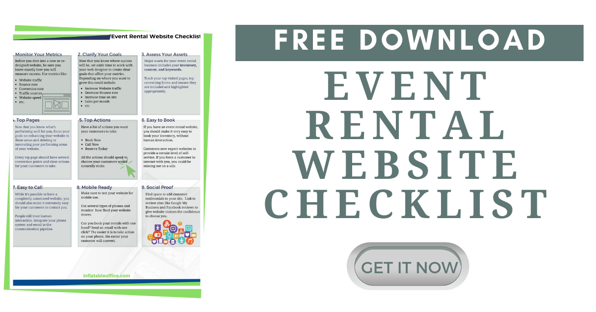 Event rental website free checklist