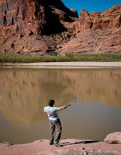 Photo: Skipping rocks into the Colorado river at the Gold Bar Campground, Moab, Utah.
