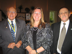 Photo: President Blaine Timmer, District 6970 Governor Cynde Covington, and Incoming President Dennis Micare at the Annual Installation and Awards Banquet on June 5, 2010 - Rotary Club of DeBary-Deltona
