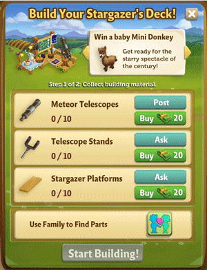 Farmville 2 Stargazers Deck building requirement