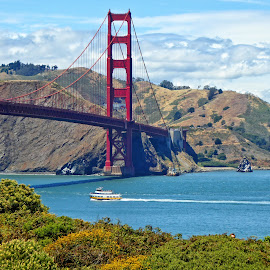 The Golden Gate Bridge by Sandy Scott - Landscapes Travel ( clouds, water, hills, golden gate bridge, seascape, travel, landscape, mountains, landmarks, bay, architectural, bridge, san francisco )