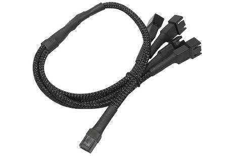 Forgrener, 3 pins vifte til 6x3 pins vifte, kabelstrømpe, 60 cm, sort