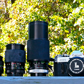 Old Friends by Denise Zimmerman - Artistic Objects Other Objects ( canon, lenses, camera, film camera )