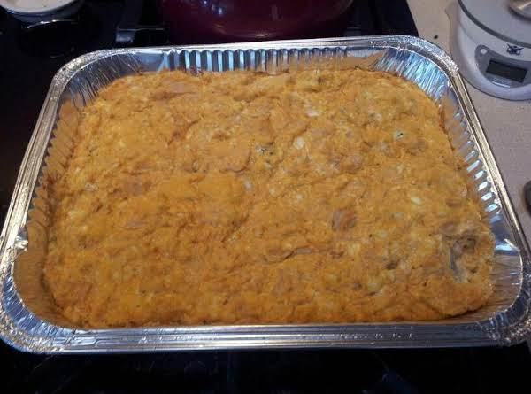 A Big Tray Of Buffalo Chicken Dip For My Sister's Birthday Party. The Guests Attacked It As Soon As I Served It. At Least I Got This Picture!! Lol