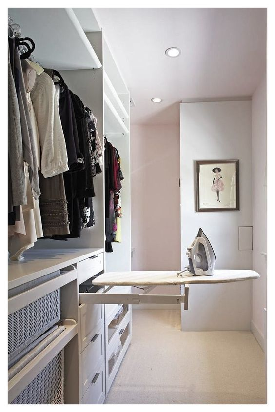 Pull-out Iron Board Drawer for Small Walk-in Closet Ideas