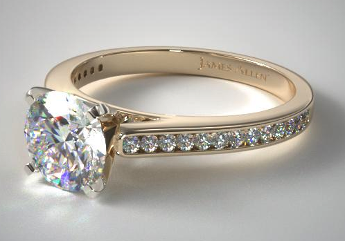 Yellow Gold Thin Channel Set Round Diamond Ring from James Allen