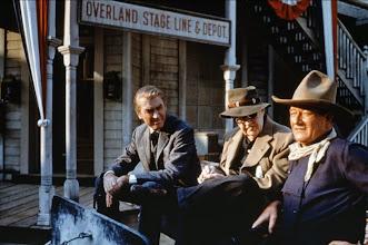 "Photo: James Stewart, John Ford e John Wayne nos bastidores de ""O Homem que Matou o Facínora"".  http://filmesclassicos.podbean.com"