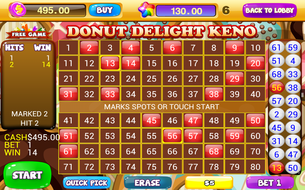 free online keno games with bonus