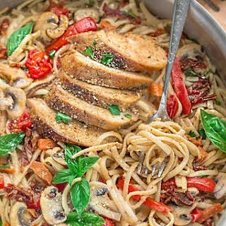 One Pot Tuscan Chicken Pasta.