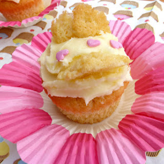 Butterfly Cakes with Strawberry Jam and Cream Cheese Frosting.