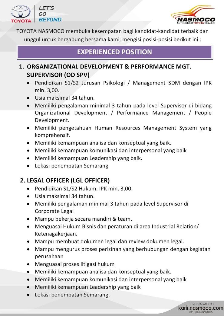 Hanya untuk kamu yang sudah punya pengalaman pada Supervisor Level di bidang yang sama atau relevan sesuai dengan persyaratan lowongan berikut.