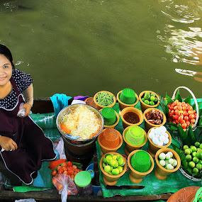 Thai Som Tam Vendor Floating Market by James Morris - Food & Drink Fruits & Vegetables ( floating market, vendor, som tam, thai,  )