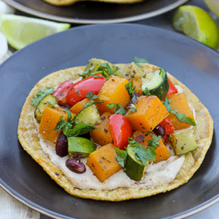 Roasted Vegetable and Bean Tostadas with Chipotle Cream {Gluten-Free, Dairy-Free Option}