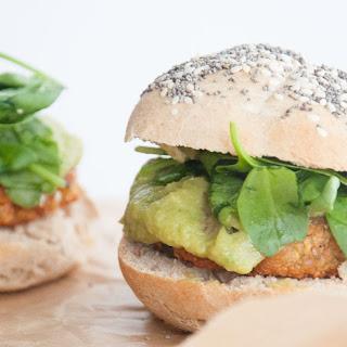 Falafel Burger With Avocado Sauce, Spinach, and Homemade Burger Buns [Vegan].