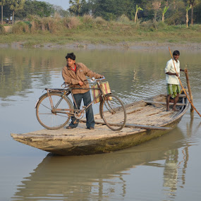 Cycle-Boating by Atanu Roy - Transportation Boats ( cycle, green, harbour, landscape, river )