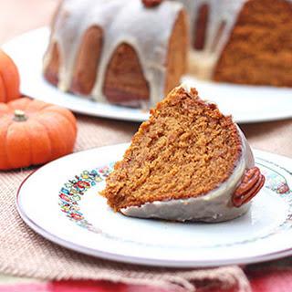 Pumpkin-Pecan Cake with Brown Sugar and Bourbon Glaze.