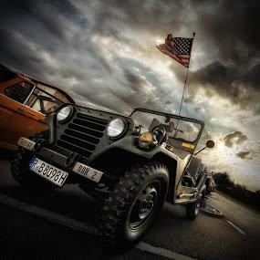 Raging wind by Matthias Weigel - Transportation Automobiles ( army, classic car, jeep, star spangled banner, usa )