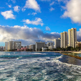 Sky's The Limit by Rachelle Crockett - City,  Street & Park  Skylines ( clouds, skyscrapers, waves, blue skies, ocean, shopping, beach, hawaii, city, waikiki )