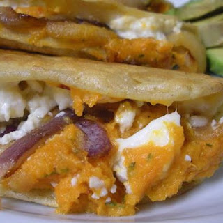 Mashed Sweet Potato, Apple and Cotija Quesadillas