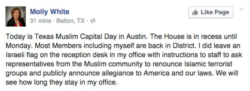 Post from the Facebook page of state Rep. Molly White, R-Belton, on January 29, 2015.