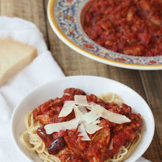Spaghetti with Tempeh Sausage Marinara and Artichokes Recipe