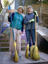 Photo: The sweepathon continues: Hidden Garden Steps volunteers Leena Krasno  (left) and Barbara Meli are among the neighbors showing up, unscheduled and as needed, to keep the Steps (16th Avenue, between Kirkham and Lawton streets in San Francisco's Inner Sunset District) clean. Formal clean-ups are held from 1 - 3 pm on the second Saturday of each month; new and returning volunteers are welcome to join us in sweeping, cleaning, gardening, and any other work requiring attention.  For more information about the Steps, please visit our website (http://hiddengardensteps.org), view links about the project from our Scoopit! site (http://www.scoop.it/t/hidden-garden-steps), or follow our social media presence on Twitter (https://twitter.com/GardenSteps), Facebook (https://www.facebook.com/pages/Hidden-Garden-Steps/288064457924739) and many others.