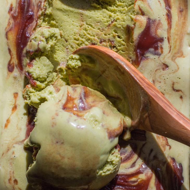 Matcha Green Tea Ice Cream with Sweet Red Bean