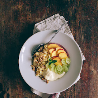 Millet With Coconut Milk, Vanilla Soy Yogurt, Fruits And Nuts