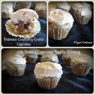 Gluten-Free Oatmeal-Cranberry-Cookie Cupcakes with Buttery Cinnamon Vanilla Frosting.
