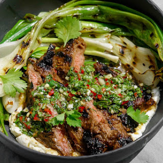 Marinated Skirt Steak with Grilled Spring Onions, Ricotta & Chimichurri